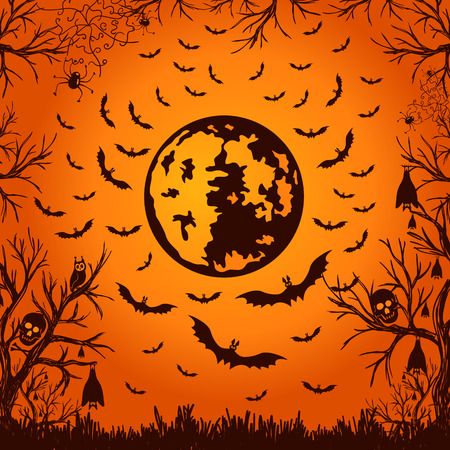 moon: background for Halloween moon and bats. vector illustration