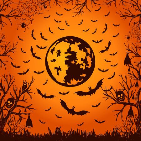 mond: Hintergrund für Halloween-Mond und Fledermäuse. Vektor-Illustration