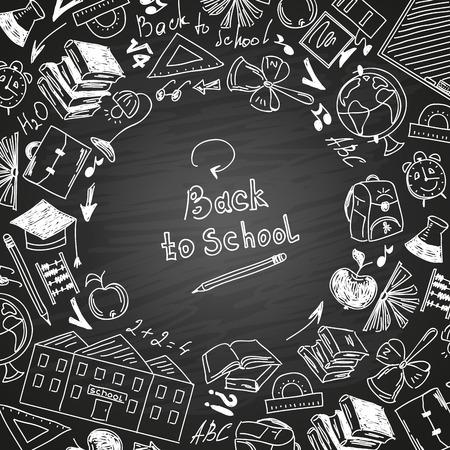 Back to school, freehand drawing school subjects. Chalk on blackboard.