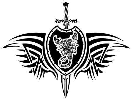 valor: image of a scorpion emblem shield and sword