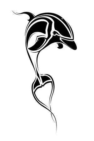 image of a dolphin in the form of a tattoo sketch