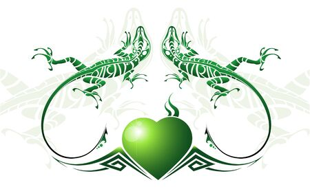 image of two green lizards and heart Vector