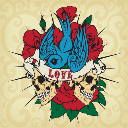classic tattoo: The vector image Colored sticker on the shirt with a skull, roses and swallow. Vector.