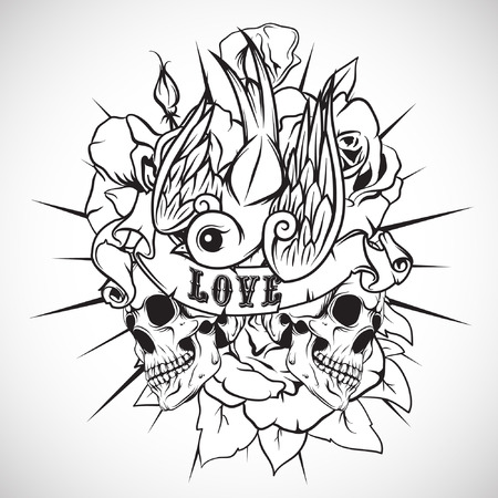The vector image Colored sticker on the shirt with a skull, roses and swallow. Vector.
