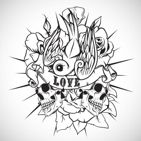 golondrinas: La imagen del vector etiqueta de color en la camiseta con una calavera, rosas y tragar. Vector.