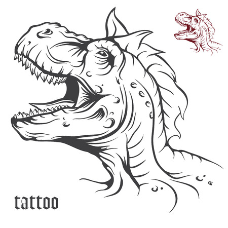 speculative: The vector image Sketch of tattoo dinosaur