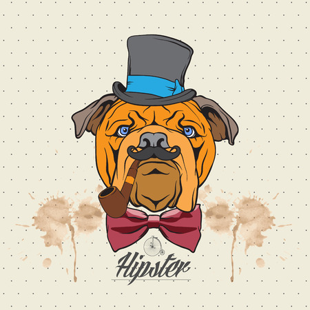 The vector image  Illustration of a bulldog head with hat and bow tie Иллюстрация