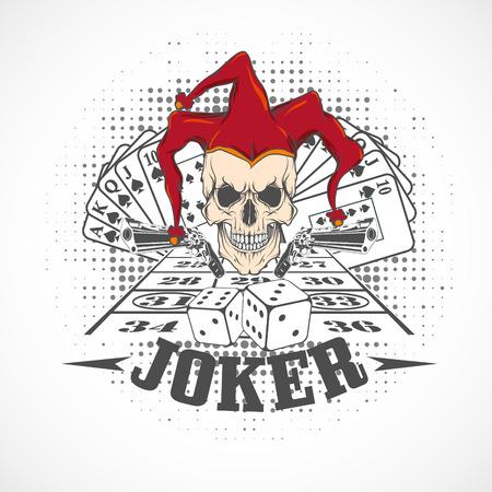 The vector image  Joker card. Emblem casino.