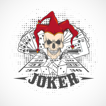 evil: The vector image  Joker card. Emblem casino.