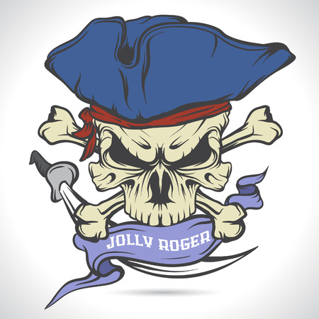 roger: The vector image Jolly Roger emblem. Pirate. Vector illustration.