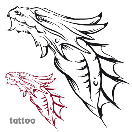speculative: The vector image Sketch of tattoo with a dragon