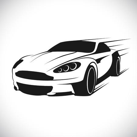 razas de personas: El vector de imagen de la etiqueta con una imagen de un coche de carreras. Vector