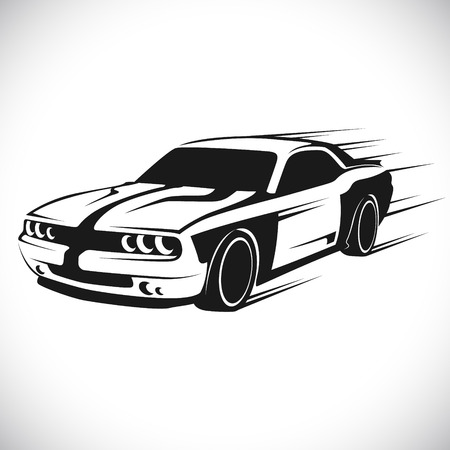 The vector image Label with a picture of a racing car. Vector