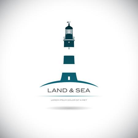 灯台の画像とベクトル画像ラベル  イラスト・ベクター素材