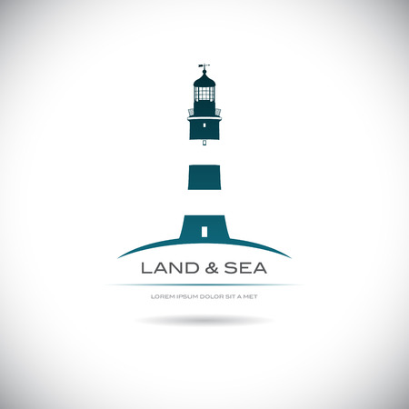The vector image Label with a picture of the lighthouse