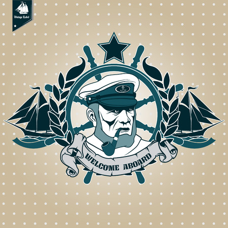 ship captain: The vector image Label with a picture of the ship captain. Nautical theme. Illustration