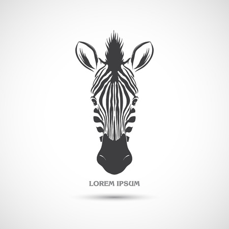 zebra pattern: The vector image Label with the head of a polar bear. Vector Illustration