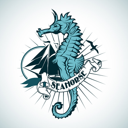 The vector image Label with the image of a seahorse. Nautical theme. 矢量图像