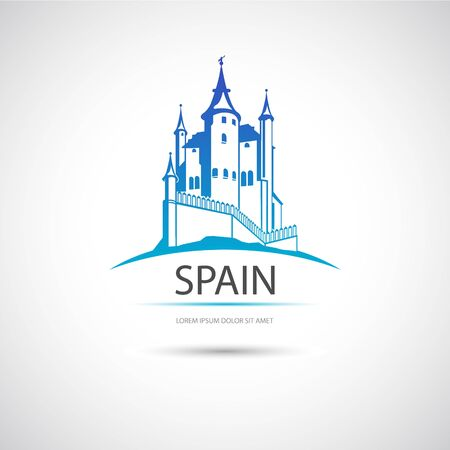 The vector image  Label with the image of Spanish castle. Vector.