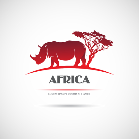 allegory painting: The vector image  Label with the image of the African rhinoceros. Vector.