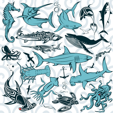 The vector image Set the inhabitants of the deep sea. Vector. Vector