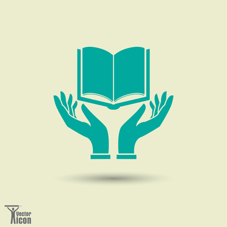 Los iconos de la imagen del vector del vector con un libro y sus manos.