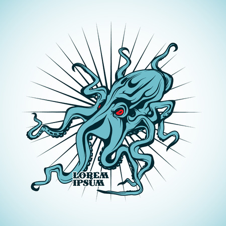 black giant: The vector image Vector illustration of an octopus. Illustration