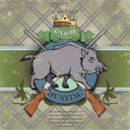 wildlife shooting: The vector image Vintage label with the symbol of a hunting club Illustration