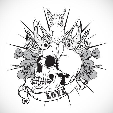 tatouage ange: L'image vectorielle de l'autocollant sur la chemise avec l'ange et le cr�ne. Vector. Illustration