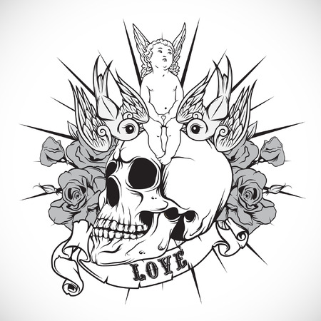 black and white image drawing: The Vector image of Sticker on the shirt with the angel and skull. Vector.