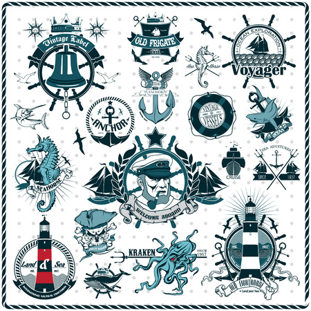 on the ropes: The Vector image of Set Of Vintage Retro Nautical Badges And Labels