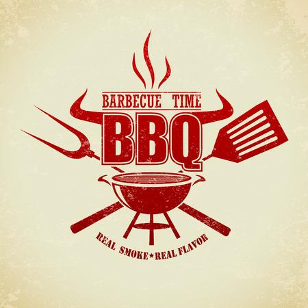 carne asada: La imagen del vector de la vendimia Partido Grill barbacoa