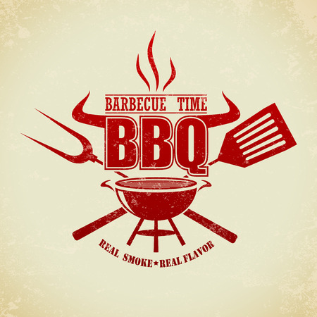 meat on grill: The Vector image of Vintage BBQ Grill Party