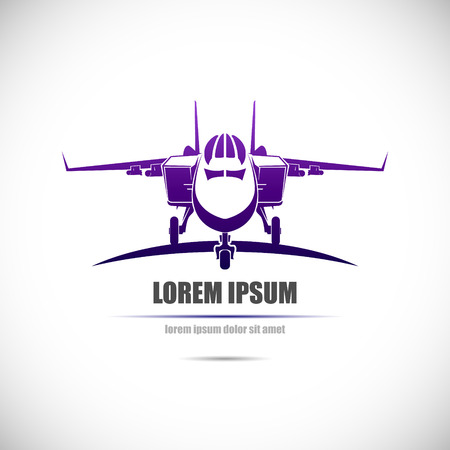 The Vector image of Label with military aircraft. Illustration