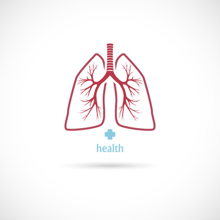 The Vector image of  Lungs symbol, on a white background, health. Иллюстрация