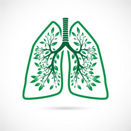 De vector afbeelding van de menselijke longen in de vorm van groene bladeren op een witte achtergrond.