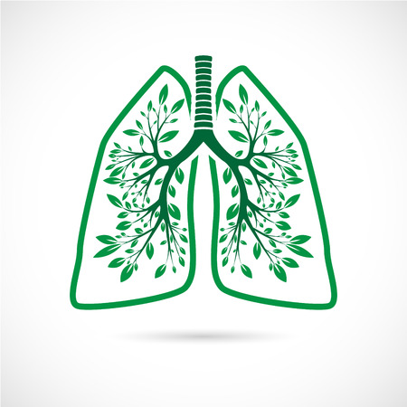 The Vector image of Human lungs in the form of green leaves on a white background. Ilustração