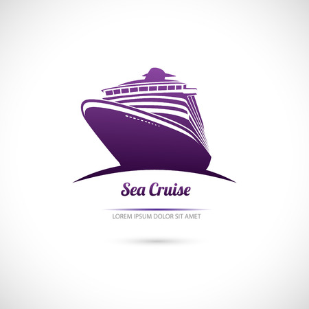 ferry boat: The Vector image of Label Sea cruise. Ocean liner.