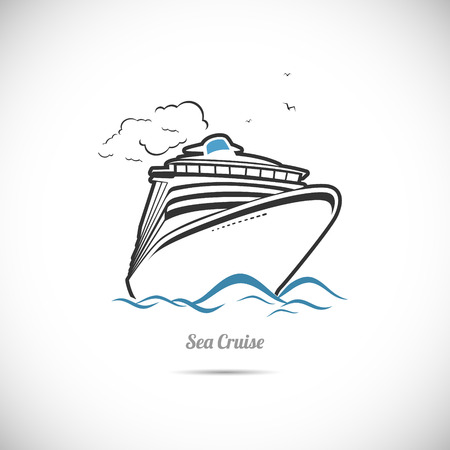 The Vector image of Label Sea cruise. Ocean liner.