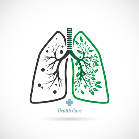 The Vector image of  Lungs symbol, on a white background, health. Ilustração