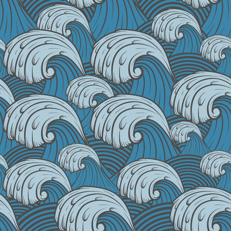 deluge: The Vector image of Seamless pattern with sea waves.