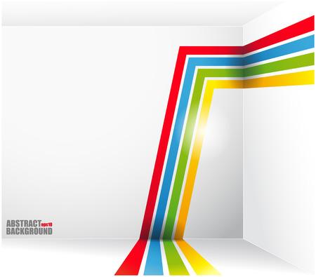 abstrakt: Vektorbilden av abstrakt bakgrund med ljusa band och en plats under texten. vektor