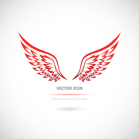 wings vector: The Vector image of Icon with wings on a white background.