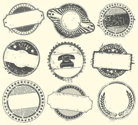 estampilla: La imagen del vector del conjunto abstracto de sellos de vectores con un lugar vac�o para el texto Vectores