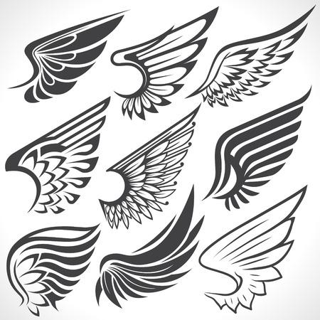 engel tattoo: Die Vektor-Bild von Big Set Skizzen von Flügeln Illustration