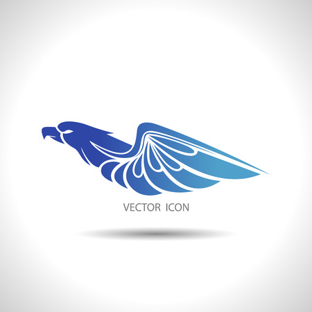 flying birds: The Vector image of Icon with an eagle on a white background.