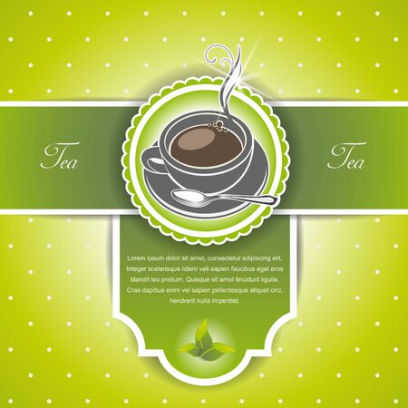 steam of a leaf: The Vector image of  background with a cup of tea and leaves