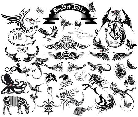 Unicorn fish: The Vector image of BIG SET TATTOO Illustration