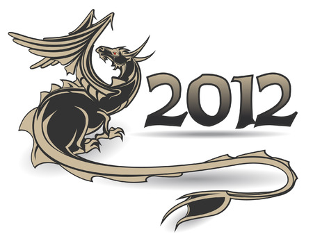 execution: The Vector image of Black dragon a symbol of year 2012