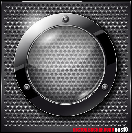 The Vector image of Black glass circle on a metal grid. Vector illustration Vector